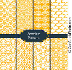 Set of geometric seamless patterns - Vector illustration. ...