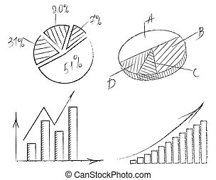 Vector illustration set of graphs with arrows drawn chalk