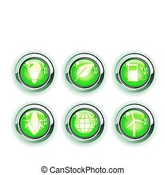 ecology icons - Vector illustration set of green ecology...