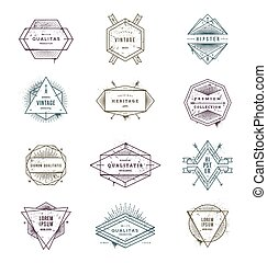 Vector illustration - set of grunge hipster signs and emblems with sunburst rays.eps