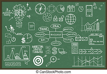 Vector illustration set of hand drawn business, finance elements.