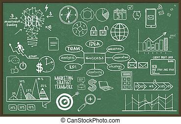 Vector illustration set of hand drawn business, finance elements.