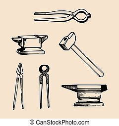 Vector illustration set of hand sketched blacksmith elements. Retro farrier icons or signs.