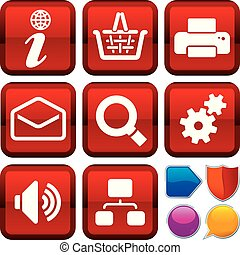 Set of internet icons on square buttons. Geometric style.