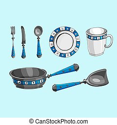 Vector illustration, set of kitchen