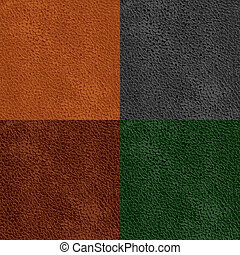 Vector illustration - set of leather seamless patterns