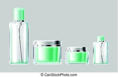 Vector illustration set of light blue glass cosmetic...