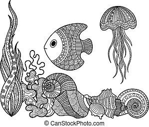set of marine life fish - Vector illustration set of marine...