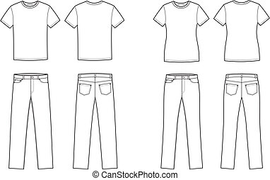 Vector illustration. Set of men's and women's casual clothes. T-shirt and jeans. Front and back views
