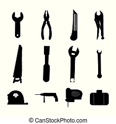 Vector illustration set of miscellaneous construction tools