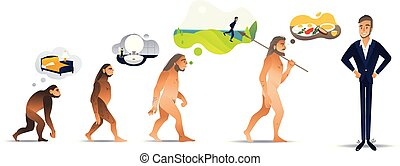 Vector illustration set of morning evolution of man from waking up in bed as monkey to confident businessman.