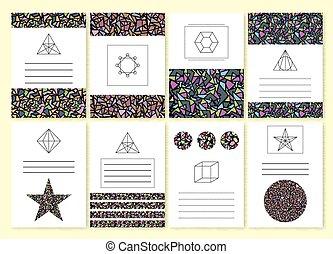 Vector illustration set of mosaic invitations