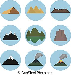 Vector illustration set of mountain icons