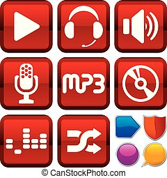 Set of music icons on square buttons. Geometric style.