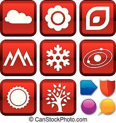 Set of nature icons on square buttons. Geometric style.