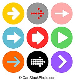 Vector illustration set of nine different type of arrows in rounded colorful buttons for the web