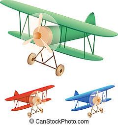 old biplane - Vector illustration set of old biplane