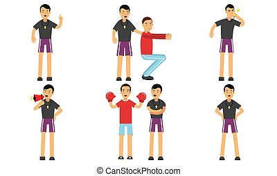 Vector Illustration Set Of Personal Fitness Trainer Profession