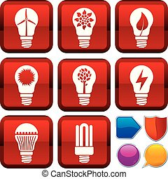 Set of renewable energy icons on square buttons. Geometric style.