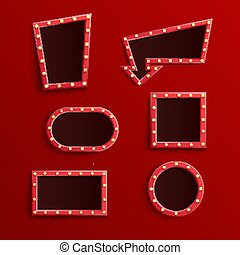 Vector illustration set of retro red blank frames with illuminated light bulbs.