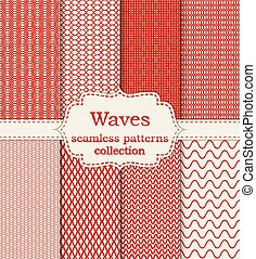 Vector illustration set of seamless patterns waves