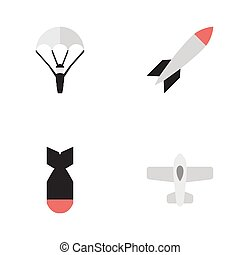 Vector Illustration Set Of Simple Aircraft Icons. Elements...