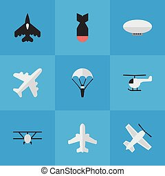 Vector Illustration Set Of Simple Aircraft Icons. Elements ...