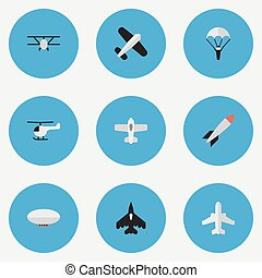 Vector Illustration Set Of Simple Airplane Icons. Elements ...
