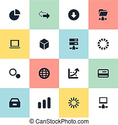 Vector Illustration Set Of Simple Analysis Icons. Elements Download, Notebook, Double Arrow And Other Synonyms Server, Data And Coordinate.