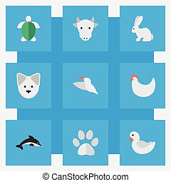 Vector Illustration Set Of Simple Animals Icons. Elements Fish, Cock, Kine And Other Synonyms Dog, Footprint And Dolphin.