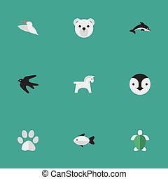 Vector Illustration Set Of Simple Animals Icons. Elements Sparrow , Panda , Perch Synonyms Penguin, Dolphin And Flightless.