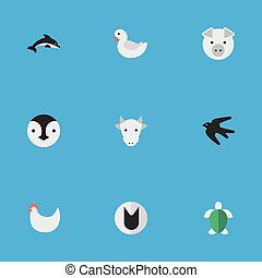 Vector Illustration Set Of Simple Animals Icons. Elements Turtle, Flightless Bird, Cock And Other Synonyms Cute, Milk And Tortoise.
