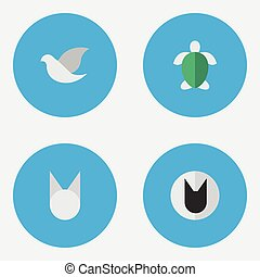 Vector Illustration Set Of Simple Animals Icons. Elements Turtle, Pigeon, Cat And Other Synonyms Pigeon, Tortoiseshell And Bird.