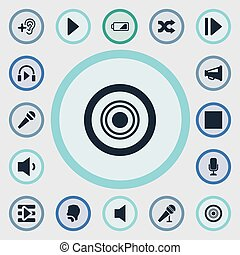 Vector Illustration Set Of Simple Audio Icons. Elements...