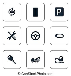 Vector Illustration Set Of Simple Automobile Icons. Elements...