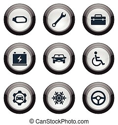 Vector Illustration Set Of Simple Automobile Icons. Elements Snowflake, Accumulator, Side Mirror And Other Synonyms Cogwheel, Sedan And Charger.