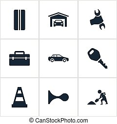 Vector Illustration Set Of Simple Automobile Icons. Elements Wheel, Vehicle Building, Builder And Other Synonyms Shovel, Car And Key.