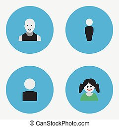 Vector illustration set of simple person icons  elements male