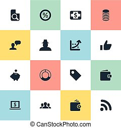 Vector Illustration Set Of Simple Banking Icons. Elements...