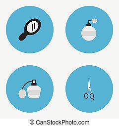 Vector Illustration Set Of Simple Barber Icons. Elements...