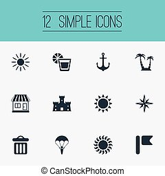 Vector Illustration Set Of Simple Beach Icons. Elements...