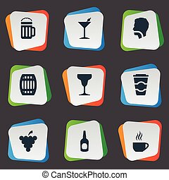 Vector Illustration Set Of Simple Beverage Icons. Elements Cocktail, Cask, Hydration And Other Synonyms Bottle, Thirsty And Martini.