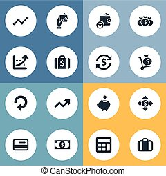 Vector Illustration Set Of Simple Bill Icons. Elements...