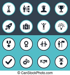 Vector Illustration Set Of Simple Champion Icons. Elements Military Medal, Gears, Innovation And Other Synonyms Medal, Military And Money.