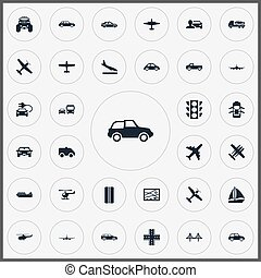 Vector Illustration Set Of Simple Transport Icons. Elements Aero, Jeep, Downgrade And Other Synonyms Suspension, Monster And Truck.