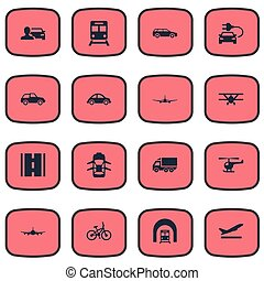 Vector Illustration Set Of Simple Transport Icons. Elements Highway, Bike, Small Automobile And Other Synonyms Plane, Automobile And Departure.
