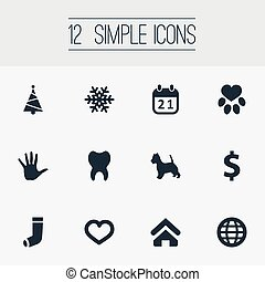 Vector Illustration Set Of Simple Colony Icons. Elements...