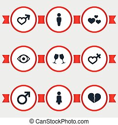 Vector Illustration Set Of Simple Couple Icons. Elements...
