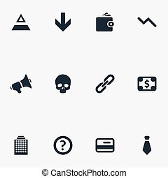 Vector Illustration Set Of Simple Crisis Icons. Elements...