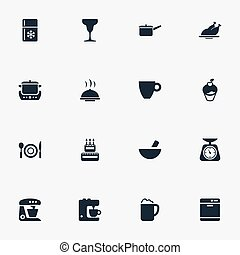 Vector Illustration Set Of Simple Cuisine Icons. Elements...